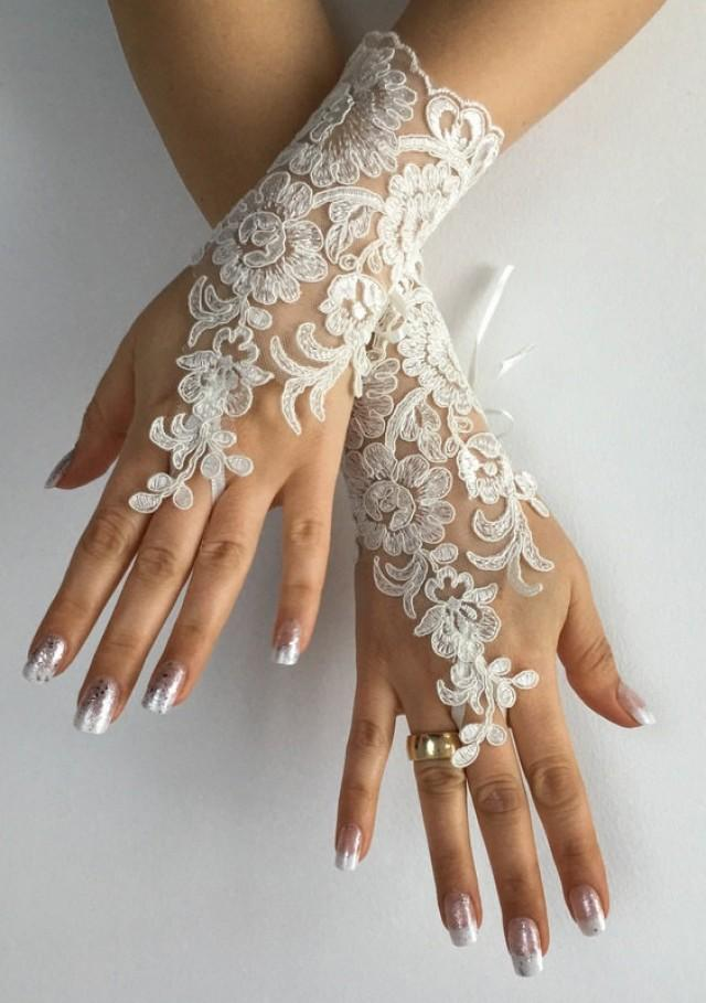 wedding photo - Free ship Wedding gloves ivory bridal gloves lace gloves fingerless gloves french lace gloves