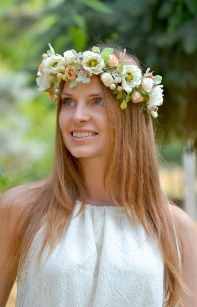 wedding photo - Floral crown Bridal flower crown Anemone wedding halo Bridal headband White peach rose crown Boho wedding flower crown Woodland bride