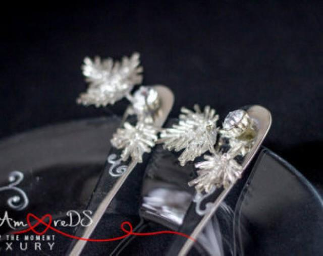 wedding photo - Beads wedding, forks, black and white wedding, flowers forks, embroidery, gift ideas, bride and groom, rhinestone & pearls, classic, 2 pcs