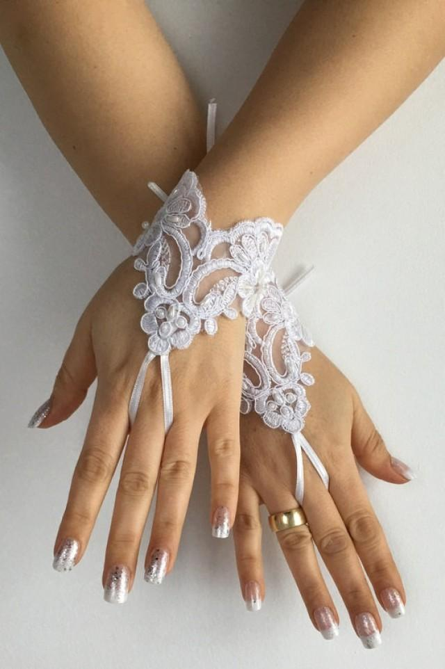 wedding photo - FREE SHIP White lace cuff Wedding gloves bridal gloves lace gloves fingerless gloves french lace gloves,handmade