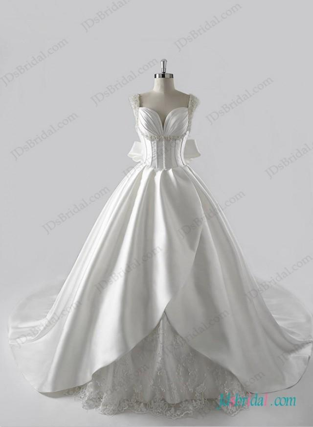 wedding photo - stunning plunging neck illusion back ball gown wedding dress