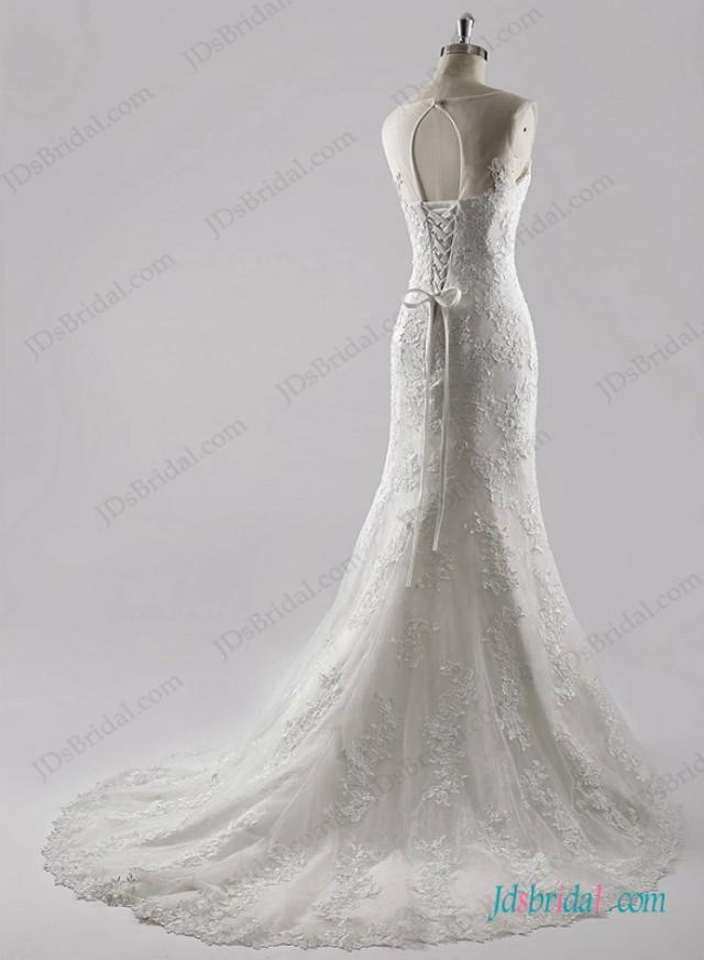wedding photo - Romance sheer scoop neck top lace mermaid wedding dress