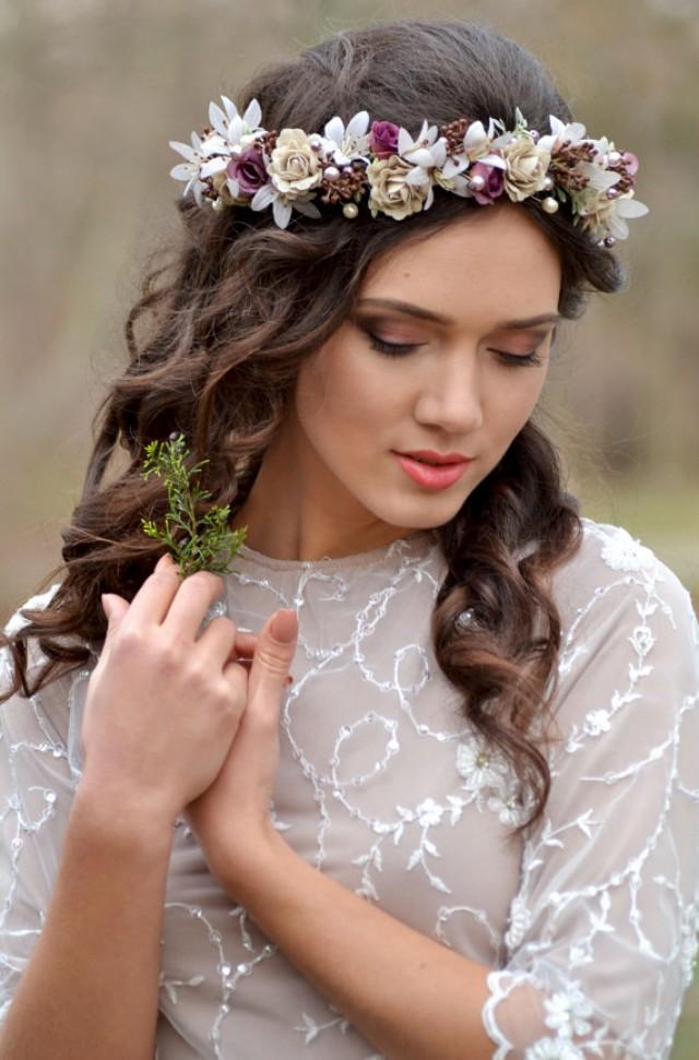 wedding photo - Fall Flower pearl headpiece Rustic vintage ivory wreath Purple cream wedding floral crown linen roses flowers-bells Bridal set boutonniere