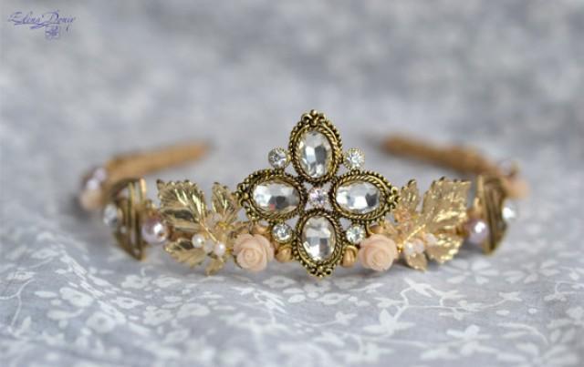 wedding photo - Fall wedding crown leaf hair Gold cream tiara Bridal vintage headpiece Fairy tale wedding Bridal gold crown Victorian crown Medieval wedding