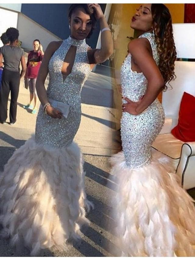 wedding photo - Elegant White High Neck Keyhole Floor Length Mermaid Prom Dress With Beading Feathers on Luulla