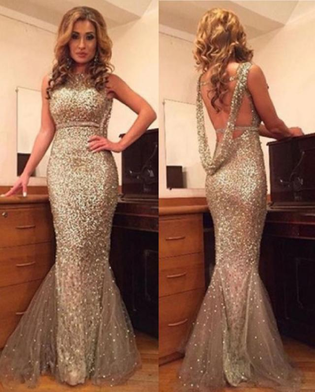 wedding photo - Sexy Scoop Sequines Gold Mermaid Backless Prom Dress on Luulla
