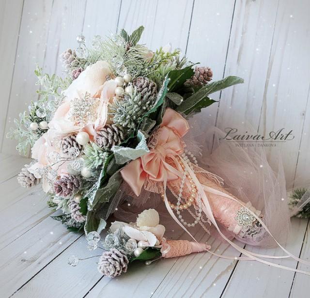 wedding photo - Winter Wedding Bouquet Alternative Bridal Bouquet Blush Pink Wedding Bouquet with Boutonniere Brooch Bouquet