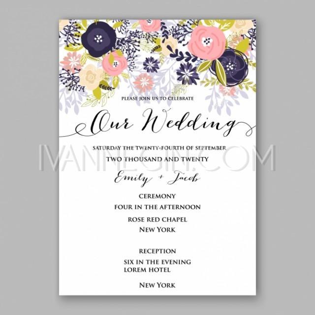 Romantic Pink Rose Bridal Shower Invitation Bouquet Wedding Invitation Template Design
