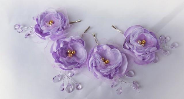 wedding photo - Wedding Fabric Flower Hair Pin Bridal Accessories Lilac Purple Lavender
