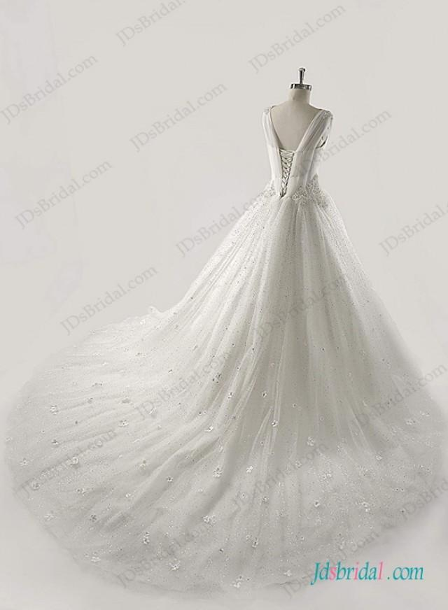 wedding photo - Sprakly sequins tulle princess ball gown wedding dress