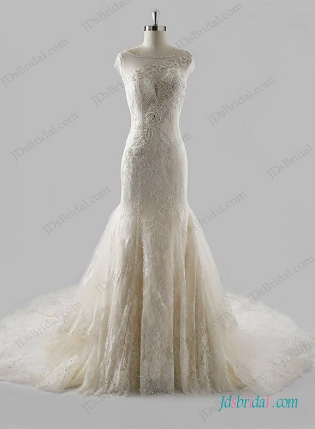 wedding photo - Sexy sheer back lace mermaid wedding dress