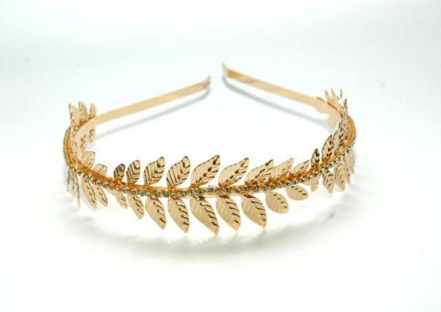 wedding photo - Grecian Rose Gold Leaf Headband, Laurel Leaf Headband, Rhinestone Gold Headband, Goddess Leaf Headband, Gold Headpiece