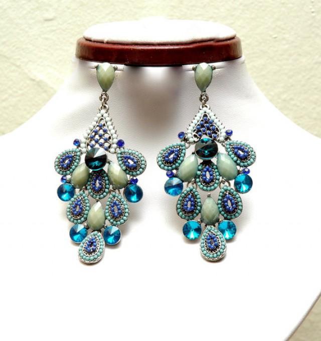 wedding photo - Blue Teal Chandelier Earrings, Peacock Style Crystal Earrings, Bohemian Jewelry, Statement Earrings