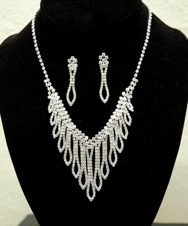 wedding photo - Chandelier Bridal Necklace, Crystal Wedding Jewelry Set, Silver Rhinestone Wedding Necklace, Wedding Accessories