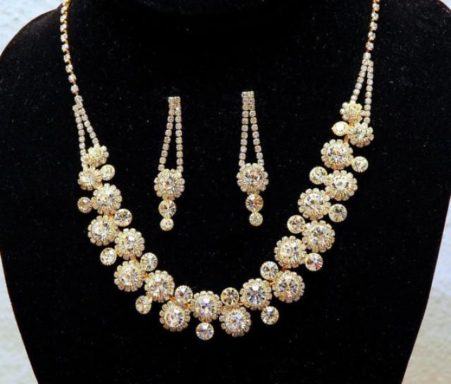 wedding photo - Gold Rhinestone Wedding Necklace, Crystal Bridal Jewelry Set, Crystal Necklace, Wedding Accessories