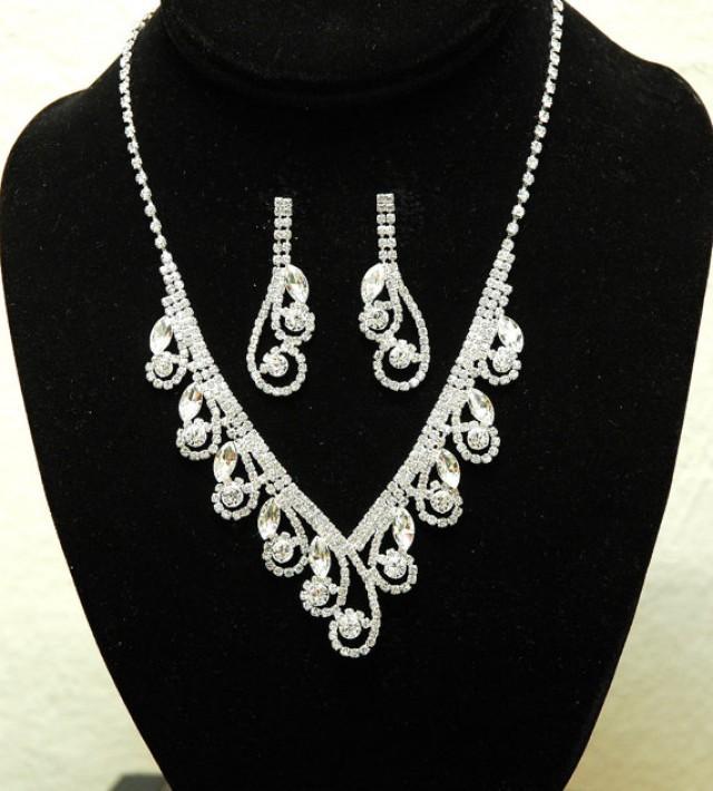 wedding photo - Swirl Bridal Necklace, Crystal Wedding Necklace, Silver Rhinestone Jewelry Set, Wedding Accessories
