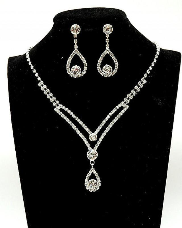 wedding photo - Art Deco Bridal Necklace, Wedding Jewelry Set, Rhinestone Crystal Necklace and Earrings, Wedding Accessories