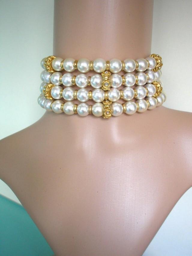 wedding photo - Pearl Choker, Wedding Pearl Necklace, Chunky Choker, Bridal Jewelry, Statement Necklace, Great Gatsby, Rhinestone Choker, Art Deco, Downton