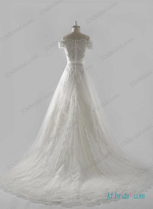 wedding photo - Graceful off shoulder a line wedding dress