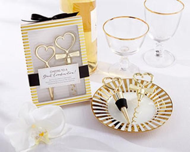 wedding photo - Beter Gifts® Cheers To A Great Combination Gold Wine Set