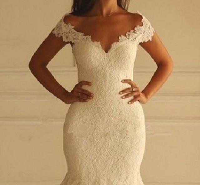 wedding photo - Princess Lace Mermaid Wedding Dress, Beach Wedding Dress