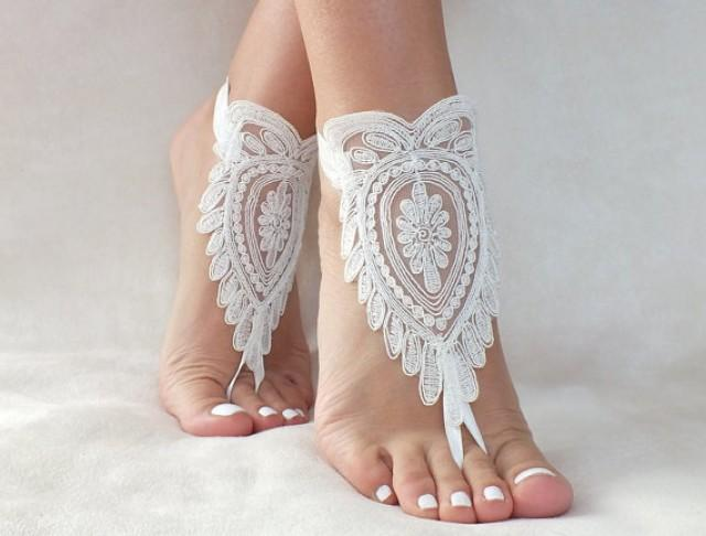wedding photo - ivory lace barefoot sandals, FREE SHIP, beach wedding barefoot sandals, belly dance, lace shoes, bridesmaid gift, beach shoes