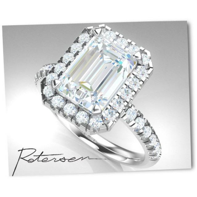 emerald cut engagement ring cubic zirconia halo