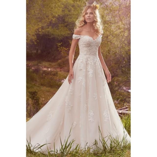 Style Saffron by Maggie Sottero - Off-the-shoulder Cap sleeve Floor length Ballgown OrganzaTulle Dress - 2017 Unique Wedding Shop