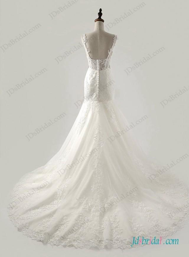 wedding photo - Thins strap sweetheart neck lace mermaid wedding dress