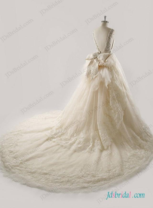 wedding photo - H1265 Luxury Beading embroidery open back champagne wedding dress