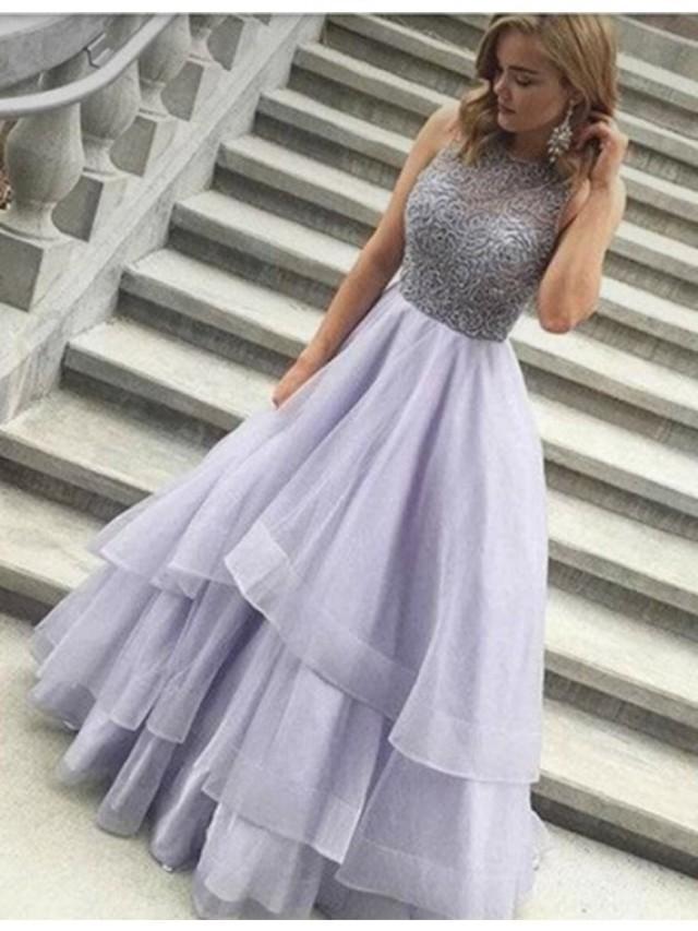 wedding photo - Elegant A-line Jewel Floor-length Lilac Prom Dress With Beading on Luulla