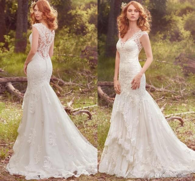 wedding photo - 2017 Elegant Boho Lace Mermaid Wedding Dresses Cap Sleeve V Neck Button Covered Illusion Back Bridal Gowns Tiered Appliqued Wedding Gowns Lace Luxury Illusion Online with $166.86/Piece on Hjklp88's Store