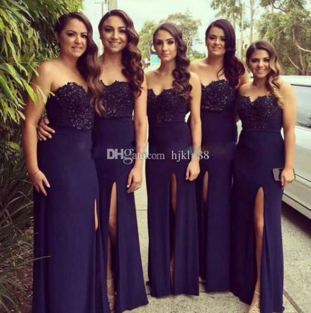 wedding photo - 2017 New Strapless A-Line Long Bridesmaid Dresses Applique Beads Chiffon Wedding Guest Dress Dark Navy Evening Party Dresses Cheap Dress Lace New Online with $108.58/Piece on Hjklp88's Store