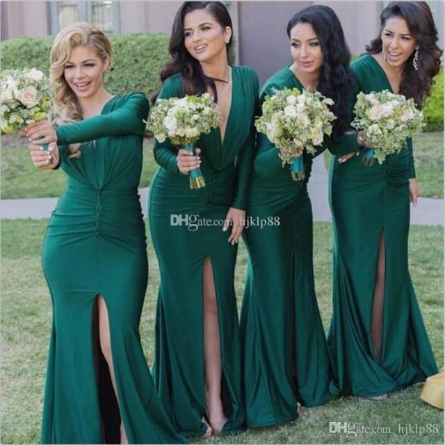 wedding photo - 2017 New Green Bridesmaid Dresses Long Sleeve V-Neck Split Front Mermaid Wedding Guest Dresses Evening Party Dresses Cheap Dress Lace New Online with $114.29/Piece on Hjklp88's Store