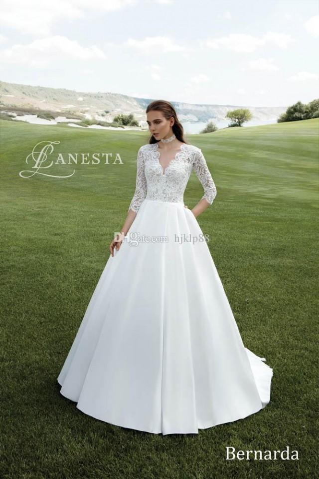 wedding photo - Deep V-Neck 3/4 Long Sleeve A-Line Wedding Dresses Satin Appliques Lace Pearls Vintage Outdoor Beach Wedding Dress Bridal Gowns Lace Luxury Illusion Online with $154.29/Piece on Hjklp88's Store
