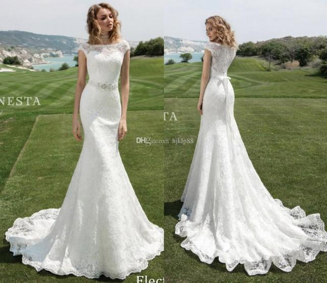 wedding photo - 2017 Lace Mermaid Wedding Dresses Cap Sleeve Bateau Neck Beaded Sash Button Illusion Back Bridal Gowns Tiered Appliqued Wedding Gowns Dress Lace Luxury Illusion Online with $162.29/Piece on Hjklp88's Store