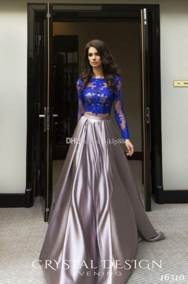 wedding photo - 2017 Robe De Soiree Courte Royal Blue Two Pieces Evening Dresses Cheap African Long Sleeves Lace Appliques Crop Top Prom Dresses Lace Luxury Illusion Online with $137.15/Piece on Hjklp88's Store