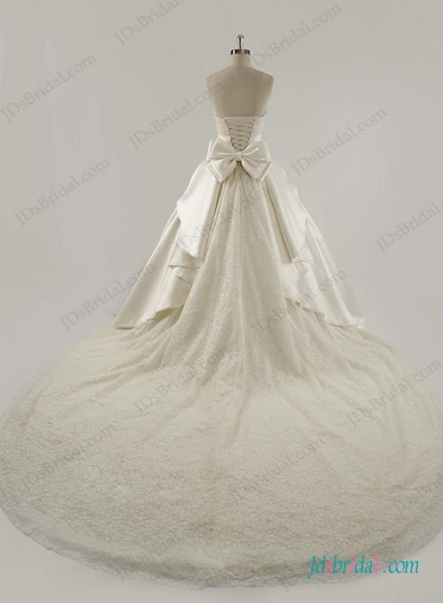 wedding photo - Strapless satin princess ball gown wedding dress