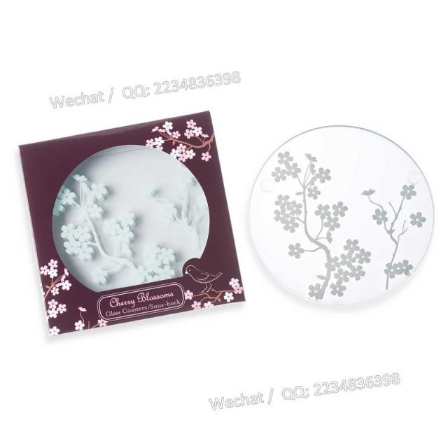 wedding photo - Beter Gifts® 日式婚禮小物 派對小佈置圓形日式櫻花透明杯墊BD012年會來賓禮物