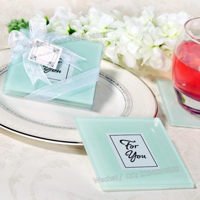wedding photo - Beter Gifts®結婚小物年會晚宴回贈 白色素顏杯墊,歐美婚禮小物 結婚答謝BD001