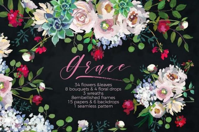 wedding photo - Grace- Acrylic Floral Design Set