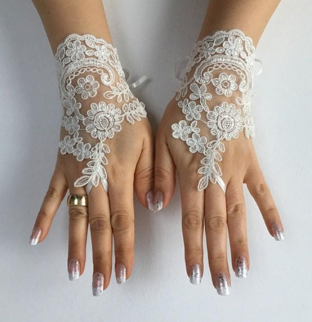 wedding photo - Free ship ivory Wedding gloves ivory bridal gloves lace gloves fingerless gloves french lace gloves