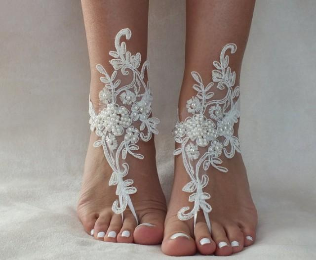 wedding photo - Ivory lace Anklet barefoot sandals, FREE SHIP, beach wedding barefoot sandals, belly dance, lace shoes, bridesmaid gift, beach shoes