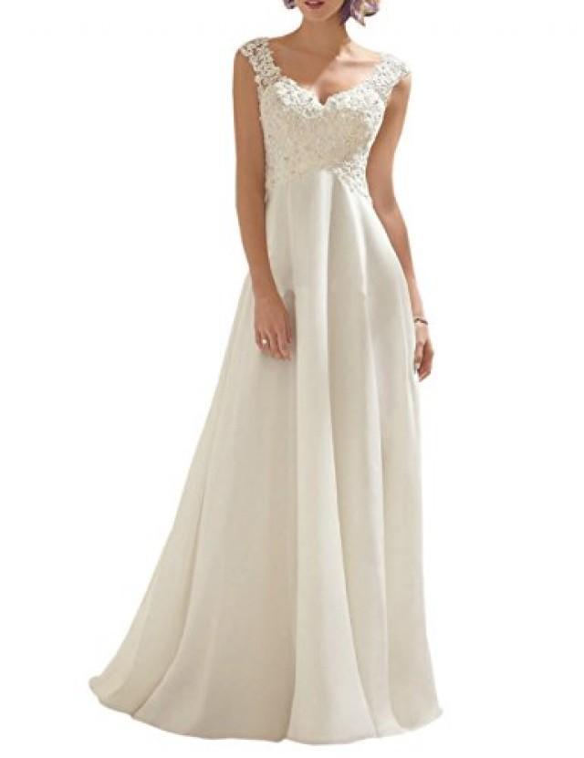 wedding photo - Beter Gifts® AbaoWedding Women's Double V-neck Sleeveless Lace Wedding Dress Evening Dress