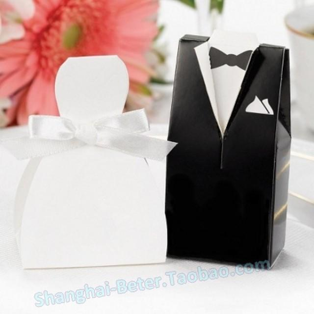 wedding photo - Beter Gifts® Wedding Dress & Tuxedo Favor Boxes BETER-TH018