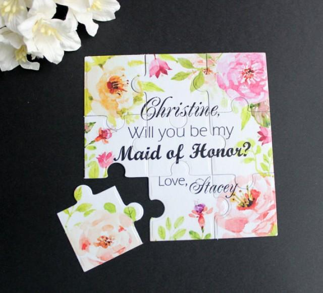 wedding photo - Will You Be My Bridesmaid Flower Puzzle Proposal Bridesmaid Invitation Asking Maid of Honor Flowergirl Invitation Rustic Wedding Invitation