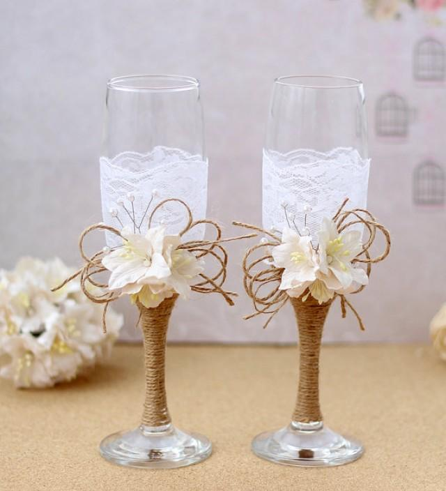 wedding photo - Burlap and Lace Toasting Flutes Rustic Toasting Glasses Bride and Groom Toast Glasses Rusting Wedding Champagne Glasses