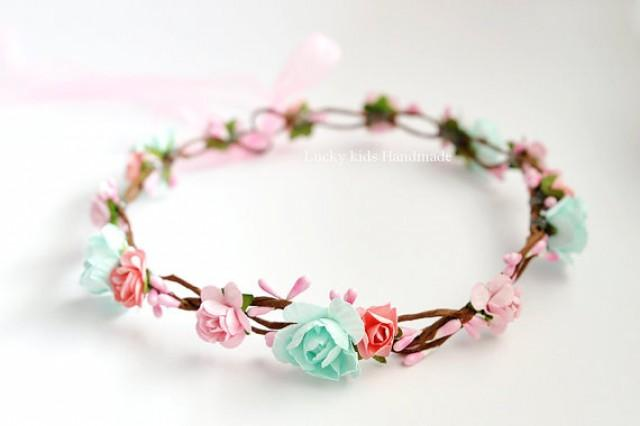 wedding photo - Mint peach flower crown - Peach Flower Crown- Mint Flower Crown - Party Floral Crowns- Bridesmaid Flower Crown - Adult Flower Crown - Halo
