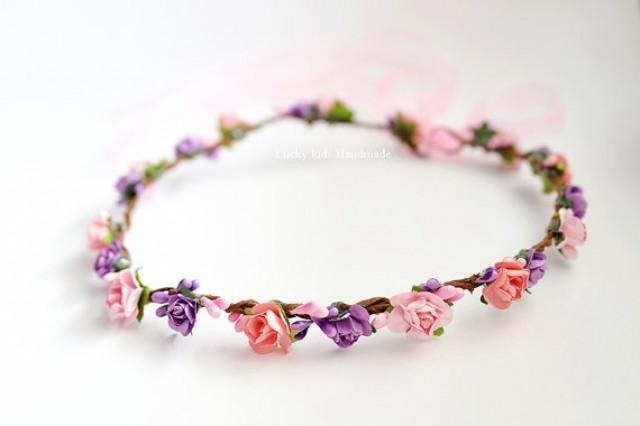 wedding photo - Pink purple flower crown - Flower Girl Crown - Bridesmaid crowns -Bridal Flower Crown - Wildflower Rose Flower Crown - Photo Prop - Halo