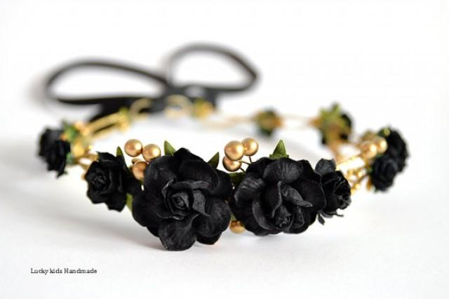 wedding photo - Black flower crown - Black floral hair wreath - Black and Gold crown - Golden Halo - Rose headpiece - Wedding hair accessories - Boho crown